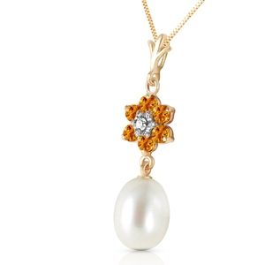 14K. GOLD NECKLACE W/NATURAL PEARL, CITRINES